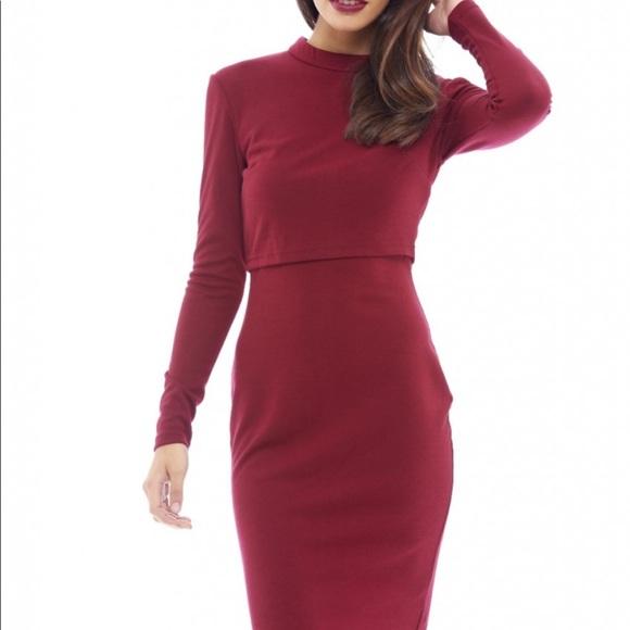 3e11cee2f4 AX Paris Dresses   Skirts - A X Paris Over Wine Midi Long Sleeve Dress  Small.